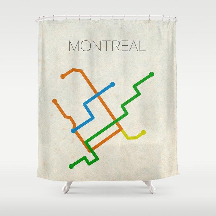 Montrrsl Subway Map.Minimal Montreal Subway Map Shower Curtain