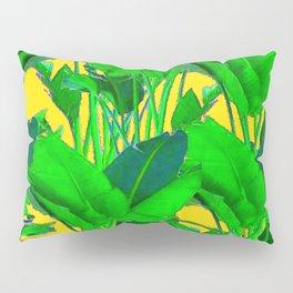 COFFEE BROWN TROPICAL GREEN & GOLD FOLIAGE ART Pillow Sham