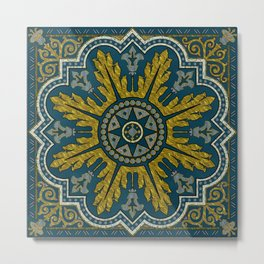 Blue and Gold Star Point Deco Metal Print