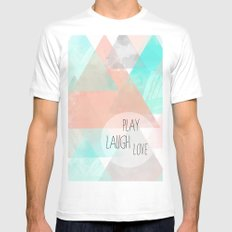 Watercolor Triangles White MEDIUM Mens Fitted Tee