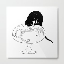 "Théophile Steinlen ""Cats: Pictures without Words (Cat and fishbowl)"" (2) Metal Print"