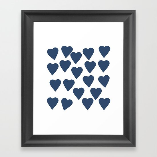 Hearts Navy Framed Art Print