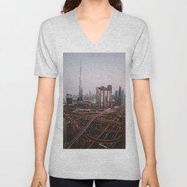 Dubai Skyline at Night | Travel Photography | Unisex V-Neck