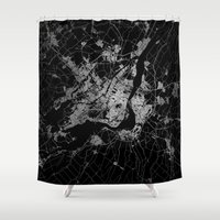 montreal Shower Curtains featuring montreal map by Line Line Lines