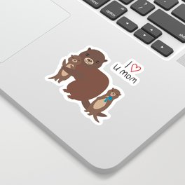 I Love You Mom. Funny brown kids otters with fish on white background. Gift card for Mothers Day. Sticker