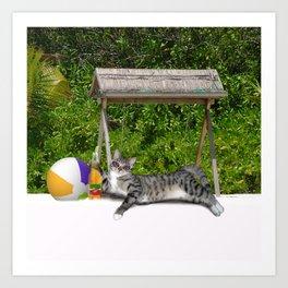 Vacation Time - Beach Bum Kitty Art Print