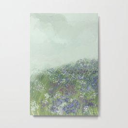 Blooming blue and green meadow painting Metal Print