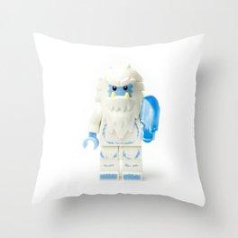 White Yeti Minifig eating an icecream Throw Pillow