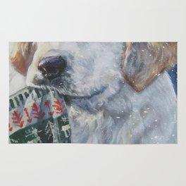 Golden Retriever Christmas Puppy dog art from an original painting by L.A.Shepard Rug