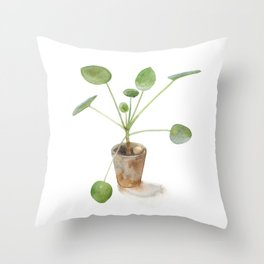 Pilea. Chinese money plant. Throw Pillow