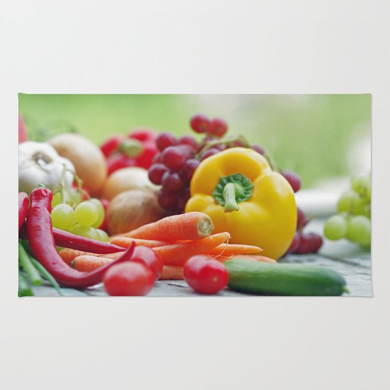 Fruits And Vegetables Variety In The Kitchen Rug By Tanja