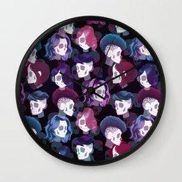 Skull Hair Pattern Wall Clock