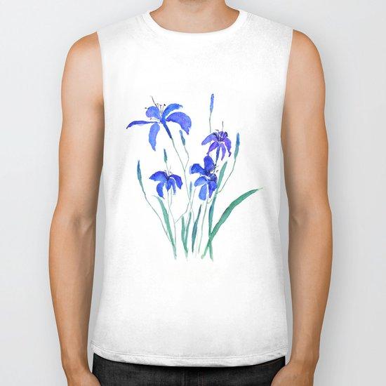 blue day lily Biker Tank