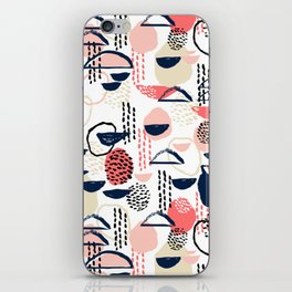 Cheli - modern abstract art print brushstroke painting trendy hipster peach pink pastel navy abstrac iPhone Skin