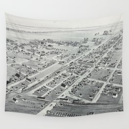 Vintage Pictorial Map of Plano TX (1891) Wall Tapestry