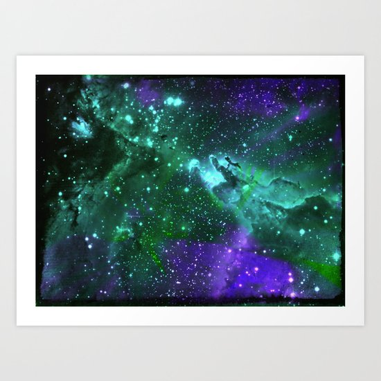 Aqua N Amethyst Space Flower Art Print