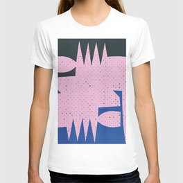 Pink and Blue Abstract Art Geometric T-shirt