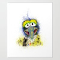 muppets Art Prints featuring Gonzo, The Muppets by KitschyPopShop
