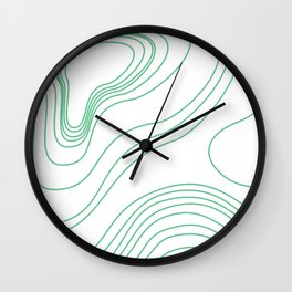 Green map lines & curves Wall Clock