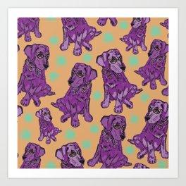 Purple pastel pop art puppies Art Print