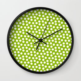 White Polka Dots on Fresh Spring Green- Mix & Match with Simplicty of life Wall Clock