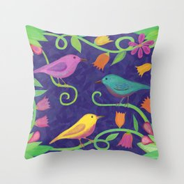 Night Birds Throw Pillow
