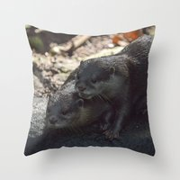 otters Throw Pillows featuring otters in the woods by Claes Touber