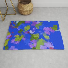 Classic Blue Loose Floral  Rug