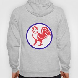 Chicken Rooster Crowing Circle Retro Hoody