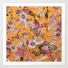 Passion Flower Floral Pattern on Orange Art Print