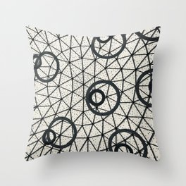 Black and White Circular Pattern Abstract Geometric Art Print Photograph Throw Pillow