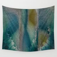 industrial Wall Tapestries featuring Industrial Wings in Teal by Jennifer Warmuth Art And Design