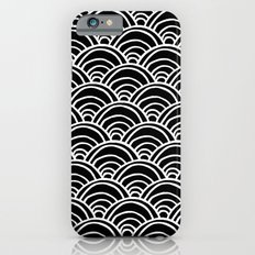 Waves All Over - White on Black iPhone 6s Slim Case