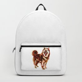Husky Dog Watercolor Painting Backpack