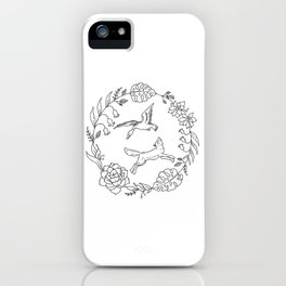 Fox and Loon Playing in Floral Wreath Design — Floral Wreath with Animals Illustration iPhone Case