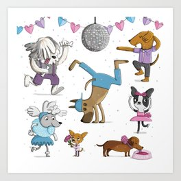 Valentine's Doggy Dance Party Art Print