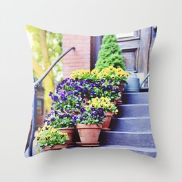 Flowers on Stoop in South End Throw Pillow