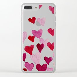 Valentine's Day Watercolor Hearts - pink Clear iPhone Case