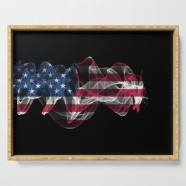 USA Smoke Flag on Black Background, USA flag Serving Tray