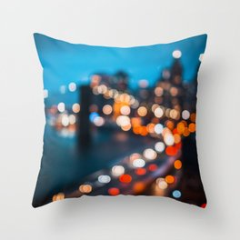 Bokeh view of Downtown Manhattan Throw Pillow