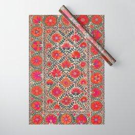 Kermina Suzani Uzbekistan Colorful Embroidery Print Wrapping Paper