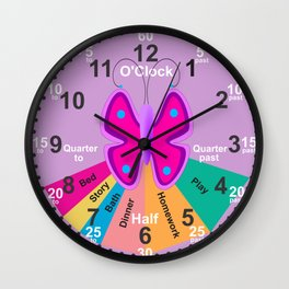 Kids Butterfly, learning the time wall Clock Wall Clock