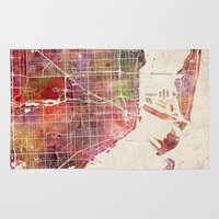 miami Area & Throw Rugs featuring Miami by Map Map Maps