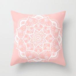 White and Pink Flower Mandala Throw Pillow