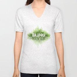 Blind River Trees (green) Unisex V-Neck