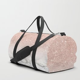 Modern faux rose gold pink glitter ombre white marble Duffle Bag