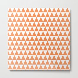 Mandarin Orange and White Triangle Pattern Metal Print