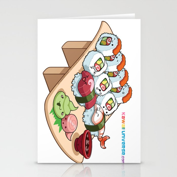 Kawaii California Roll and Sushi Shrimp and Tuna Nigiri Stationery Cards