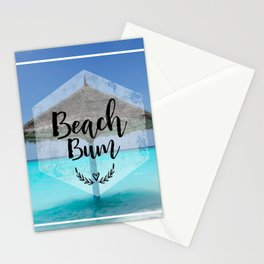 Tropical Scene with Thatched Palapa Beach Bum Typography Stationery Cards