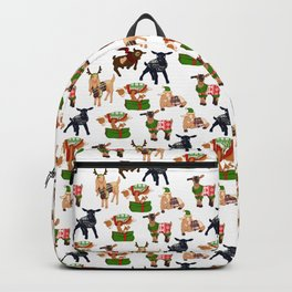 Christmas goats in sweaters repeating seamless pattern Backpack